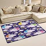 Use7 Aquarell-Einhorn-Wolke Regenbogen-Teppich Anti-Rutsch-Fußmatte Fußmatte für Kinderzimmer, Wohnzimmer oder Schlafzimmer, Textil, Mehrfarbig, 100 x 150 cm(3' x 5' ft)