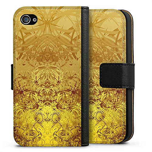 Apple iPhone X Silikon Hülle Case Schutzhülle Gold Muster Struktur Sideflip Tasche schwarz