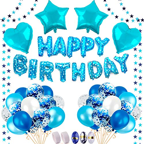 BAKHK Geburtstag Deko Jungen , Happy Birthday Blaue Folienballons, 4M Girlande mit Sternen, 50 Stück Latexballons (Konfetti, Blau, Hellblau und Weiß), 30M Ballonband, 200 Klebepunkte