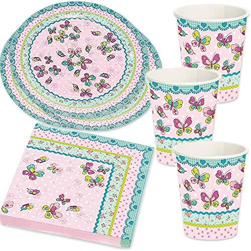 37-teiliges Party-Set * Schmetterling * mit Teller, Becher, Servietten und Deko für Kindergeburtstag und Mottoparty | Geburtstag Blumen Mädchen rosa