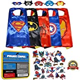 POWER CAPES: (The ONLY Set of 5) Superhero Costumes Dress Up For Kids - Comics Cartoon Heroes: Cape and Mask Costume - Includes BONUS Heroes Sticker Sheets: The Ultimate Party Supply Bundle!