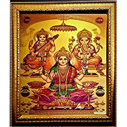 "ADA Handicraft ""Lakshmi"" ""Laxmi Mata "" ""Ganesh Ji & ""Saraswati Mata"" Photo Frame For Wall and Pooja / Religious Framed Painting For Worship (23 X 32)cm"