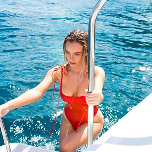 Tpulling Maillot de Bain Femme 2 Pieces ❤️ Femmes V Neck Thong Bikini Monokini Maillots de Bain Maillots red