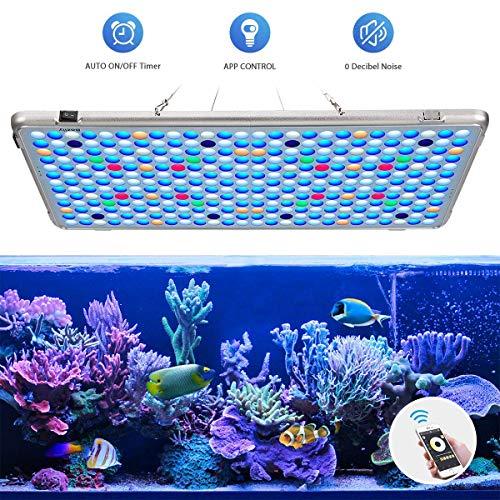 Bozily Aquarium Beleuchtung LED 300W, Vollspektrum Korallenriff Lampe für Aquarium Tanks, APP Steuerung mit Auto EIN/Aus, Dimmbar & Timer für das Wachstum von Pflanzen im Salzwasser Süßwasser