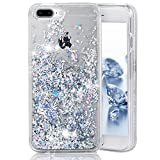 Asstar iPhone 7 Plus/iPhone 8 Plus Fall, Luxus Fashion Creative Design Flüssigkeit Schwimmende Bling Glitzer Sparkle TPU Bumper Hülle für Apple iPhone 7 Plus (2016)/iPhone 8 Plus (2017), Silber