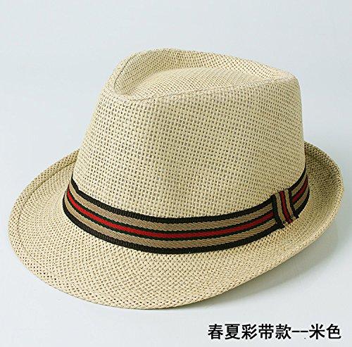 DMXY-Men's Knit hat chapeau de soleil Chapeau de paille de dome loisirs Hat Jazz Beige