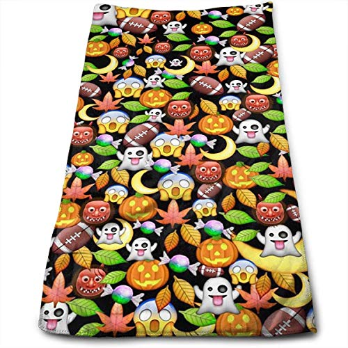 (Bath Towels Halloween Emoji Face Towels Highly Absorbent Washcloths Multipurpose Towels for Hand Face Gym and Spa 30cm*70cm)