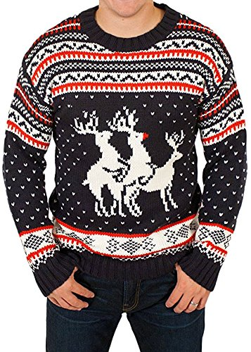 2cb70cb2cafb ROCKBERRY® - Funny Ugly Christmas Sweater Party Humping Reindeer Jumper  Unisex Men Women Threesome Orgy