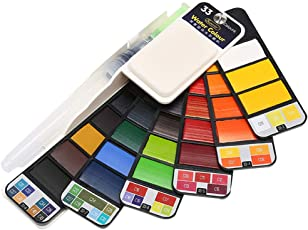 iSuperb 42 Colors Watercolor Kit Travel with Water Brush Collapsible Watercolor Paint Set for Kids Outdoor Painting