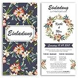 (40 x) Hochzeitseinladungskarten Blumen Ticket Blau Einladungskarten Hochzeit