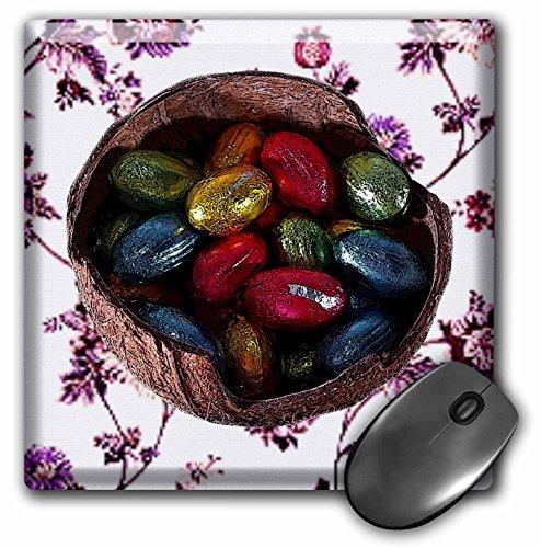 3dRose LLC mp 42947_1 Mauspad, Schokoladeneier in Kokosnussschale und Blumenfliese