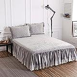 Bettvolant, Samt und Baumwolle, gesteppt, warm, dick, grau, 150x200cm(59x79inch)