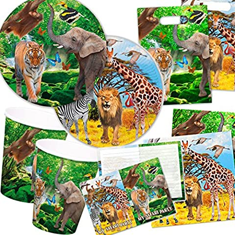 Safari & Wild Animals Party Set for Children's Birthday Party for 6-8 Children Plates Cups Napkins Invitation Cards Party Bags, Streamers Balloons and More/Lion Tiger Elephant Jungle Rainforest Savannah Grass Africa Theme Party 101 Piece