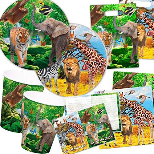 101-teiliges * SAFARI & WILDE TIERE * PARTY SET für Kindergeburtstag für 6-8 Kinder: Teller, Becher, Servietten, Einladungen, Partytüten, Luftschlangen, Luftballons, u.v.m. // Mottoparty Löwe Tiger Elefant Urwald Regenwald Savanne Steppe Afrika (Safari-geburtstags-party Einladungen)
