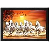 ARTAMORI Polyresin Seven Horse Running at Sunrise Painting, Multicolour, Animals, 14 x 20 inch