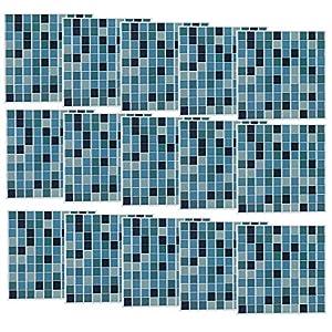 infactory Mosaikfliesen: Selbstklebende 3D-Mosaik-Fliesenaufkleber Aqua, 26 x 26 cm, 15er-Set (Mosaikfliesen selbstklebend)