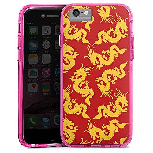 Apple iPhone 6 Plus Bumper Hülle Bumper Case Glitzer Hülle Pattern Muster Gold Bumper Case transparent pink