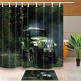 Tropical Rainforest Decor Retro Camión en la Selva 180 x 180 cm Resistente al Moho poliéster Cortina de Ducha Traje con 60 x 40 cm Franela Antideslizante Suelo Felpudo Alfombra de Baño