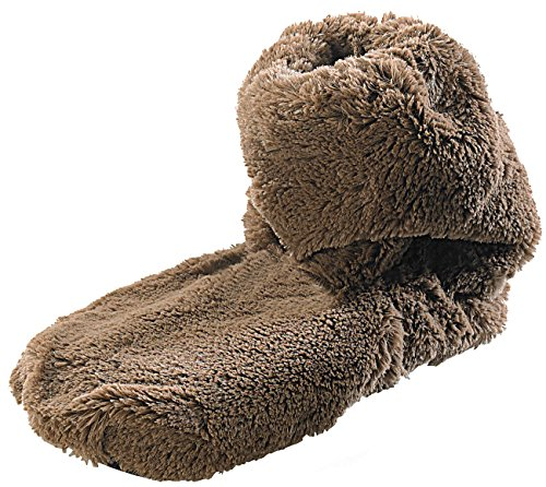 infactory Flausch Pantoffeln: Aufwärmbare Flausch-Stiefel mit Leinsamen-Füllung, Größe 42-44 (Hausschuh) Tasse Pearl