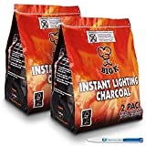 4 Pack (X4, 1KG bags) of Instant Light The Bag BBQ Charcoal for Stoves BBQs Burner - Comes With THE CHEMICAL HUT® Anti-Bacterial Pen!…