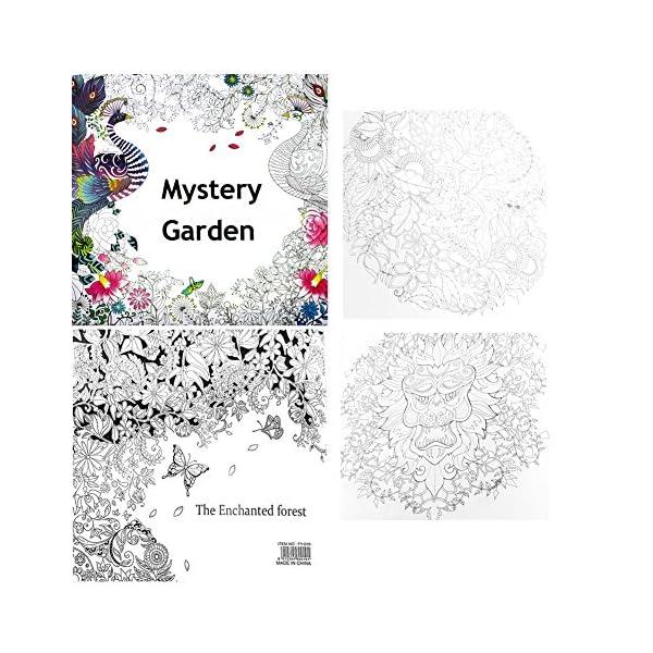 RROVE Libros de Pintura Inglés Misterio para Adultos Garden Treasure Hunt Coloring Painting Book 3