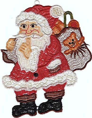 entzückendes Fensterbild 13x17 cm + Saugnapf PLAUENER SPITZE® WEIHNACHTEN Weihnachtsmann mit Sack groß Spitzenbild Advent