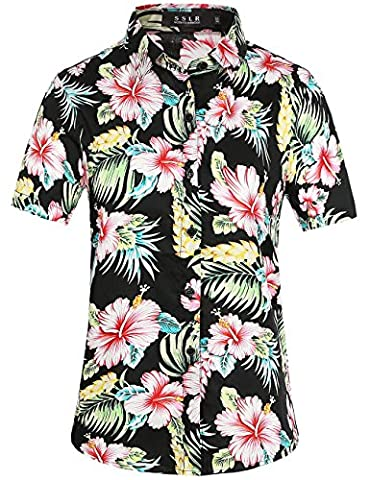 SSLR Women's Button Down Causal Short Sleeve Hawaiian Aloha Shirt