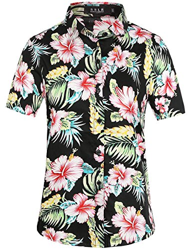 SSLR Damen Button Down Freizeit Kurzarm Hawaii Aloha Blusen (Medium, Rot Hibiscus) (Schwarzes Hawaii-aloha-shirt)