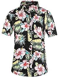 SSLR Women's Button Down Causal Short Sleeve Hawaiian Aloha Shirt