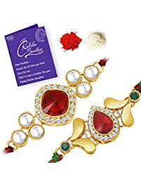 Sukkhi Incredible Rakhi Combo (Set of 2) with Roli Chawal and Raksha Bandhan Greeting Card For Men