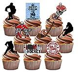 Vater 's Day Eishockey Themed Kuchen Dekorationen, essbar Stand-up Cup Cake Topper (Pack von 12)