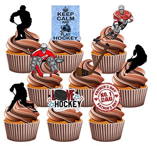ey Themed Kuchen Dekorationen, essbar Stand-up Cup Cake Topper (Pack von 12) (Eishockey-party Supplies)