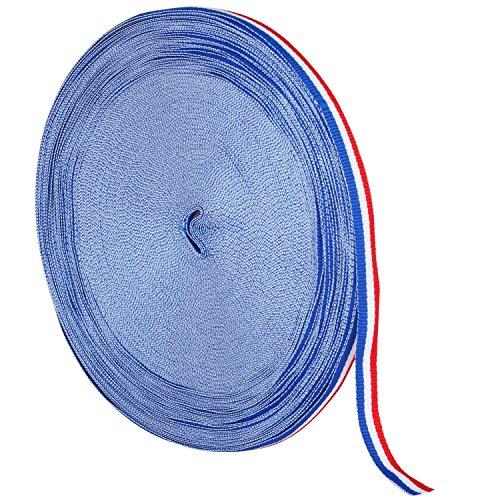 TRIXES 45m x 10mm Französisch Trikolore Dekorative Nylon Band Spule rot weiß blau für Bastille Day Arts Crafts Patriotische Banner National Feiern (Band Französisch)