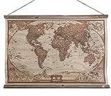Schulwandkarte Atlas Weltkarte The World Wandbild Nostalgie Leinwand 63x90cm