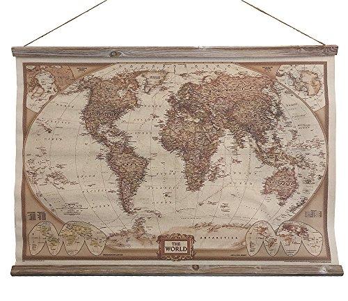 Antike Leinen Holz (Schulwandkarte Atlas Weltkarte The World Wandbild Nostalgie Leinwand 63x90cm)
