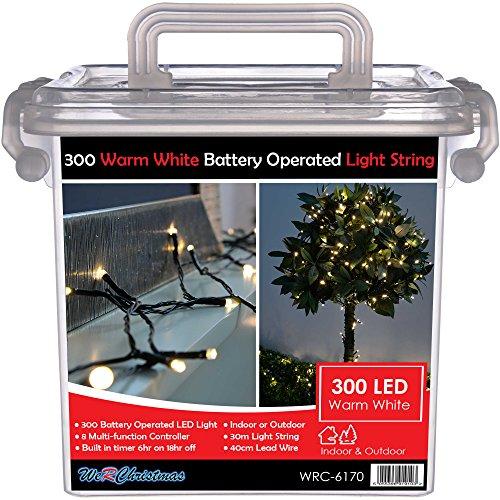WeRChristmas LED-Weihnachtsbeleuchtung, batteriebetrieben, für den Außenbereich, mit Timerschaltung, 10m, 300 LED -