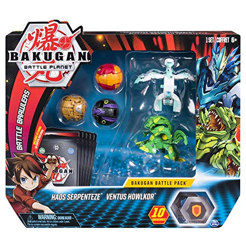 Bakugan Battle- Pack de 5, Haos Serpenteze, Ventus Howlkor,...