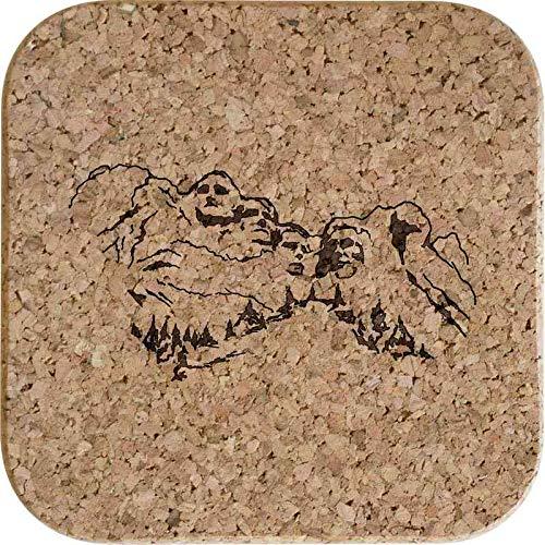 Azeeda 4 x 'Mount Rushmore' 10cm Quadratische Korkuntersetzer (CR00153910)