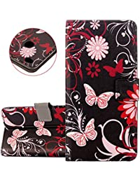 ISAKEN Case for Huawei P8 Lite 2017, [Shock-Absorption][PU Leather] Protective Cover Luxury Drawing Printing Design Elegant PU Wallet Flip Case Cover with Card Slots & Stand Function & Magnetic Closure - Circle buttefly
