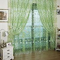 Fiori, Tulle-Tenda in Voile plissettata a pannello porta con finestra trasparente, sciarpa e tendaggi per camere da letto, soggiorno bagno Children's Room, verde, B: 100*280CM/39.37