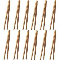 CENRONG Pinces en Bambou,12 Pcs Pinces de Cuisine en Bambou Pinces à Pain de Bois Pince à toasts,pour Cuisson,Pain,Thé…