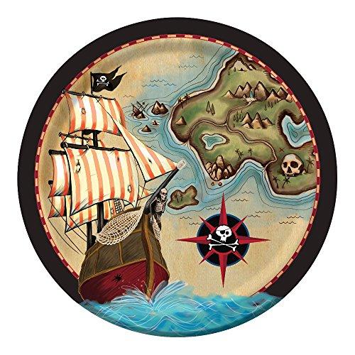 onverting 8Zählen stabile Style Papier Dinner Teller, 22,2cm Pirate 's Karte ()