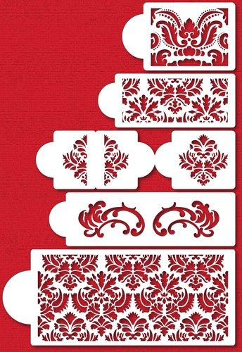 61DuYsRvt9L - Designer Stencils C406Martha Stewart, Damask Cake 5-Tier Set Cake Stencil, Beige/Semi-Transparent