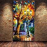TTKX@ Handgefertigte Abstrakte Messer Leinwand Nacht Street Scene Gemälde Moderne Wandkunst Bilder Handgemalte Straße Landschaft Ölgemälde, 40X80 cm