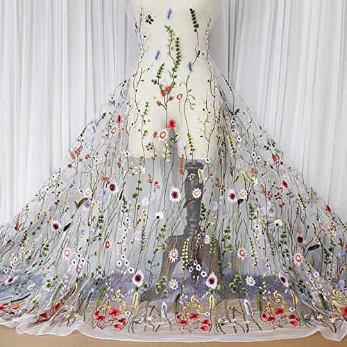 FOVIUPET Foviuppet Spitzenstoff, Bestickt, 94 x 91,4 cm, Blumenmuster, Netzstoff für Hochzeiten, Heimtextilien, Dekoration weiß