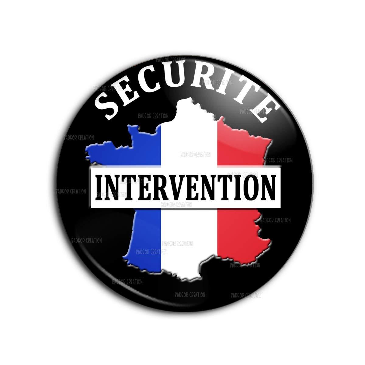 Reloadshop Porte-Cl/és Cuir Jeton Caddie Ecusson S/écurit/é Intervention France Tricolore Agent de S/écurit/é Vigile