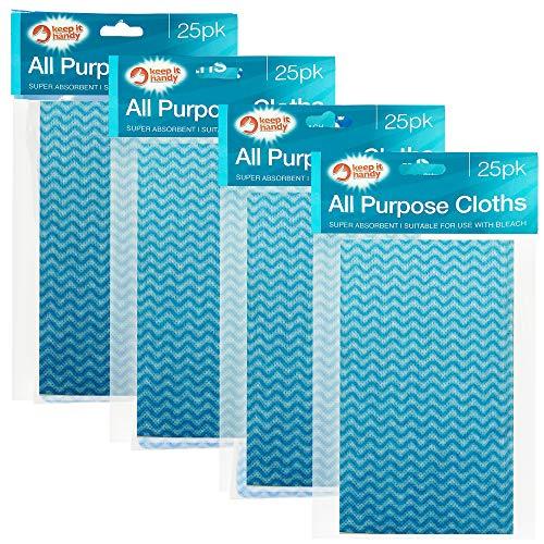 Keep it Handy, 100 Stück Allzweck-Tücher, 4 x 25 Stück, Einweg-Küchen-Tücher, Reinigungstücher, Schmutztuch, weich und saugstark, für die Küche, Blau