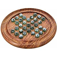 Royal Handicrafts Games Solitaire Board in Wood with Glass Marbles