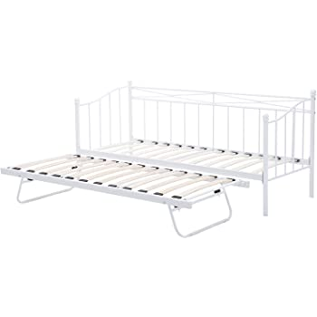 7f36df3c05f3 ... 3FT Twin Daybed and Trundle Frame Set/Premium Steel Slat Support/Daybed  and Roll Out Trundle Accommodate Twin Size Mattresses Sold Separately (White  ...