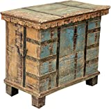 Guru-Shop Holztruhe mit Beschlägen, Antik-blau, Teakholz, 60x70x38 cm, Truhen, Kisten, Koffer